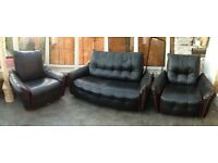 Retro 3 piece black leather settee Sofa and arm chairs vintage
