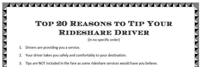 Top 20 Reasons Tip Your Driver - Uber Lyft Sign for Print - Digital Download