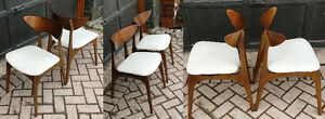 Mid Century Modern Walnut Ash Dining Chairs- REUPHOLSTERED