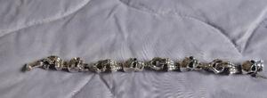 Sterling Silver Heavy Skull/Skeleton Hands Bracelet – 79 grams