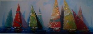 Huge Brightly colored nautical Picture of  Sailboats