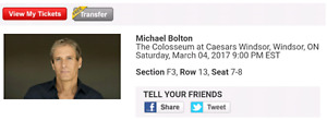 2 tickets Michael Bolton March 4th 9pm