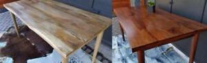 """NEW Solid Wood Live Edge Dining Tables Mid Century Modern style, compact 63"""" seats up to 8 -only a few available"""