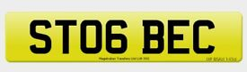 ST06 BEC private personalised cherished car registration plate