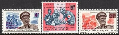 Congo Democratic Republic Scott #601-03 VF MNH 1967 New Constitution Overprints