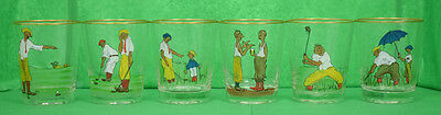 Set of (6) Hand-Painted by 'RM' c30s Golfer Old-Fashioned Glasses