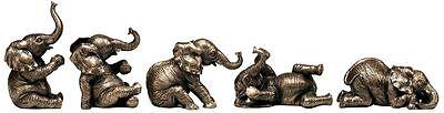 Five Elephants - Parade of Five Pachyderm Procession Herd Wildlife Animal Elephant Sculptures