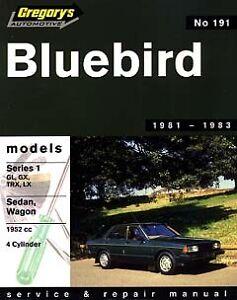 GREGORYS WORKSHOP SERVICE REPAIR MANUAL DATSUN BLUEBIRD SERIES 1 1981 1982 1983