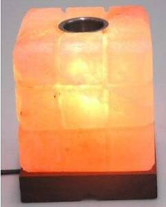 Square Himalayan Salt Lamp, electric, with oil burner tray Shoalwater Rockingham Area Preview