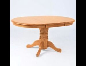 Oak pedestal table with 2 leafs Prince George British Columbia image 1