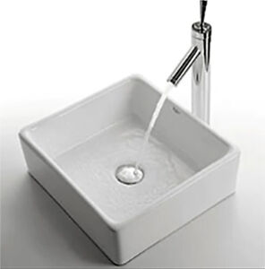 Square Vessel Sink with Tap and Drain