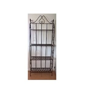Rustic Wrought Iron 4 Tier Foldable Bakers Rack
