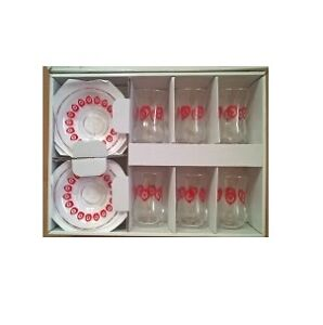 Turkish 12 Piece Glass Tea Set with Red Hearts