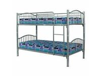 **SPECIAL OFFER** BRAND NEW SINGLE METAL BUNK BED WITH QUILTED MATTRESSES -EXPRESS DELIVERY