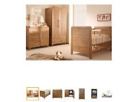 Nursery furniture set - baby style Calgary cotbed wardrobe draw and shelf