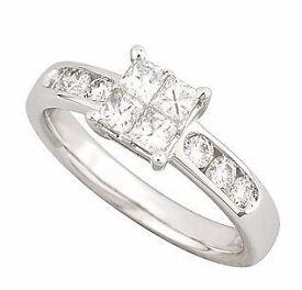 FRASER HART - 18.ct DIAMOND WHITE GOLD - PRINCESS CUT ENGAGEMENT RING