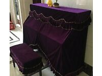 upright piano soft purple/red velvet full cover sets, 153 x 123 x 35 cm, free postage 2nd class