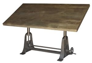 INDUSTRIAL WOODEN TOP CAST IRON ADJUSTABLE DRAFTING TABLE