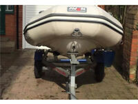 3.5 meter Avon rib boat with trailer and outboard