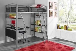 studio loft bed with desk and shelving