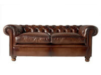 LAURA ASHLEY 2 SEATER ROCHESTER LEATHER CHESTERFIELD SOFA