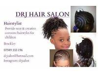 DRJ hair salon providing children hair service.