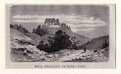 Burg Scharzfeld bei Herzberg / Harz Holzstich aus Görges 1881