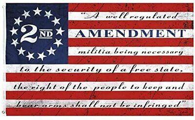 3x5FT 2nd Amendment Flag American USA 13 Star NRA Banner Gun Rights Patriot Ross Décor