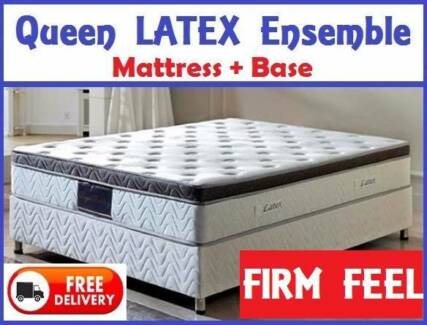 QUEEN Size LATEX Bed Ensemble Mattress + Base FREE DELIVERY