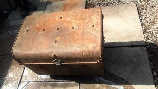 metal trunk-chest pirates treasure chest light weight used or for garden planter or logs etc.