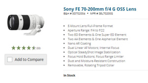 SONY FE 70-200mm f/4 G OSS lens and screw in filters