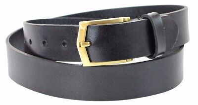 Men's Steer Hide Leather Dress Belt 32MM With Brushed Gold Buckle Made In (Mens Leather Dress Belts Made In Usa)
