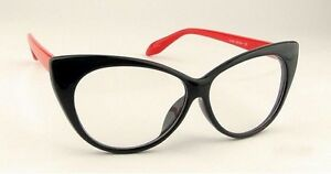 Black-Red-Frame-Vintage-Cat-Eyes-Eyeglasses-Glasses-with-Clear-Lens