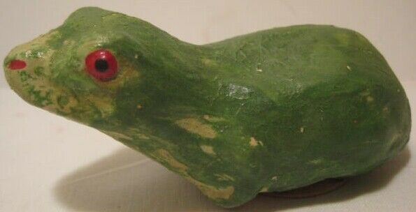 Old 1920s German Composition Primitive Frog Halloween Candy Container