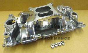 SBC-CHEVY-Polished-Air-Gap-Aluminum-Intake-Manifold