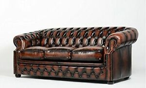 Genuine leather Chesterfield sofa set, barely one year used