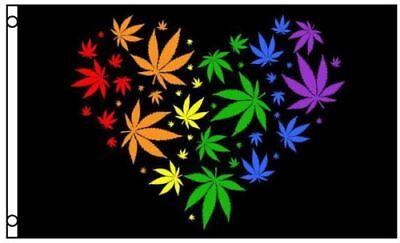 Marijuana Leaf Rainbow Love Heart Polyester 3x5 Foot Flag Pot Banner Weed (Rainbow Marijuana Leaf)