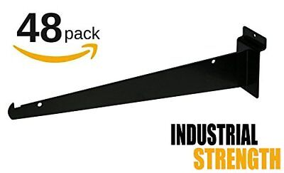 New 12 Slatwall Knife Shelf Brackets With Lip - Black 48pk