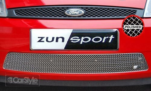 ZunSport Ford Fiesta MK6 2002-2005 Polished Steel Mesh Front Lower Grille
