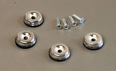 - 4 Pack Metal Amp Glides W/Rubber Insert and Screws Fender Replacement 3045