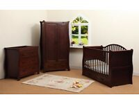 Stunning walnut 3 piece nursery furniture set RRP £1000
