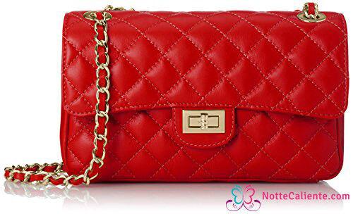 Borsa Donna A SPALLA Pelle Rossa 27 cm Nuovo Scarpe Borse da donna trapuntata