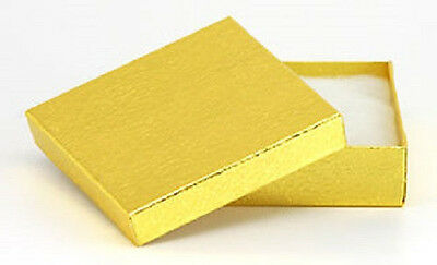 New 100 Gold Foil Cotton Filled Gift Boxes 3 12 X 3 12 Pendant Bangle Box