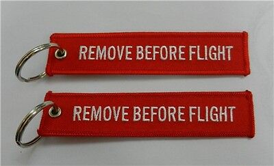 2 Pieces Remove Before Flight Key Chain Bag Tag red/white Free Shipping from USA