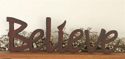 NEW Primitive Country BELIEVE Wood Word Sign Block FREESTANDING Burgundy Red (Word Blocks)