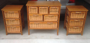 HomeCollection Bedroom Tables/Chest Commode/Bloc-tiroirs Osier