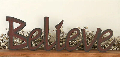 New Primitive Country BELIEVE Wood Word Sign Block Shelf Sitter Red - Word Blocks