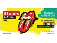 n. 2 Tickets Rolling Stones No Filter London Stadium Friday 25th May General Admission Standing