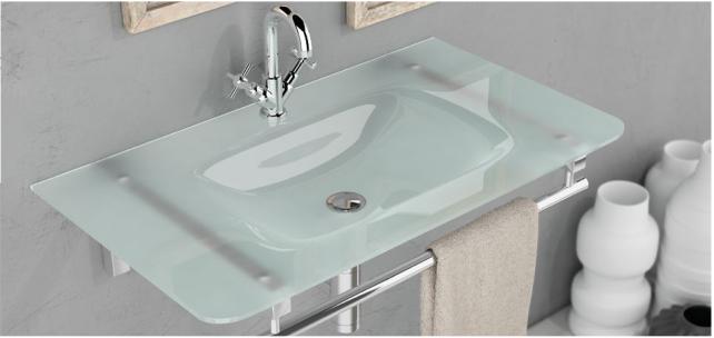 Design Aufsatz Einbau Waschbecken aus Glas 810*460*140 cm Waschtisch Milchglas