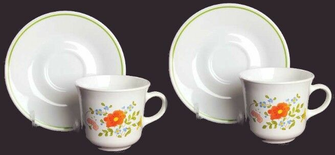 2 Corelle WILDFLOWER Cup & Saucer Sets Early Floral Retired Corning Pattern